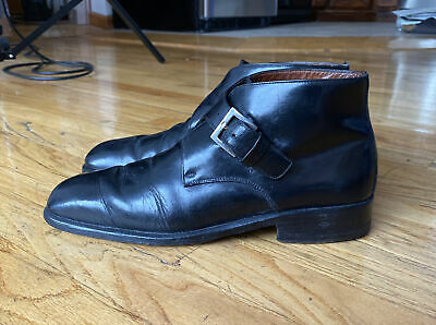 Vintage Gucci Men's Monk Strap Ankle Boots Sz 9D, 9.5 US Italy Tom Ford Era