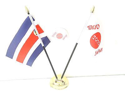 Costa Rica & Tokyo Japan Olympics 2020 Desk Flags & 59mm BadgeSet