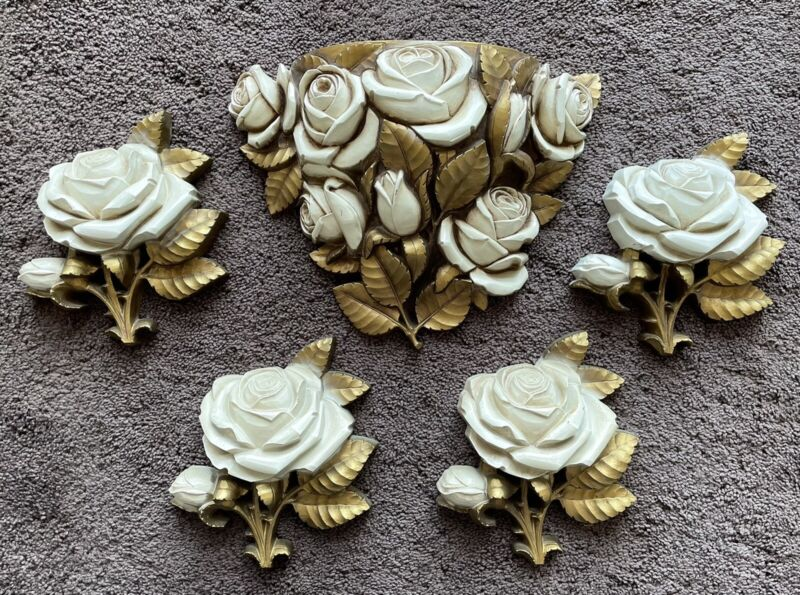 Homco White And Gold Rose Wall Plaques Mid Century Hollywood Regency