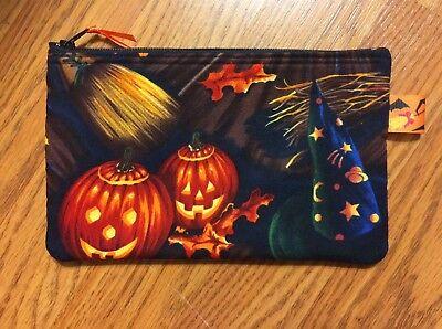 Halloween Pumpkin Witch Hat Broom Fall Small Cosmetic Case - Halloween Witch Makeup
