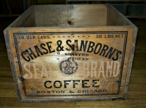 Chase & Sanborn Seal Brand Coffee Wooden Crate