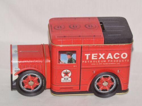NEW - TEXACO Red Petroleum Truck Tin Coin Bank