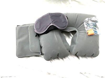 Reise Set Nackenhörnchen aufblasbar Schlafbrille Ohrstöpsel Tasche plus Geschenk