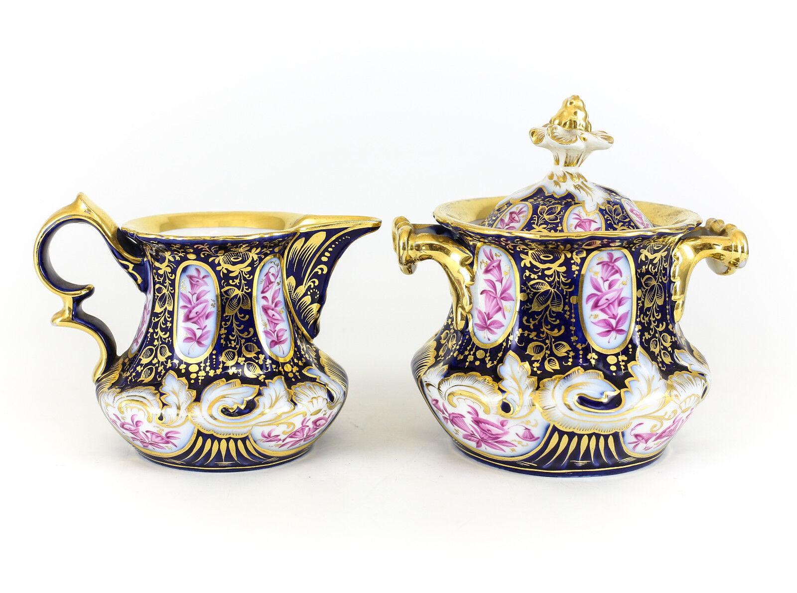 Entzuckend Pc Continental Porcelain Cream Sugar Bowl Hand Painted Gilt Th Century With  Mbel Roller Kchen