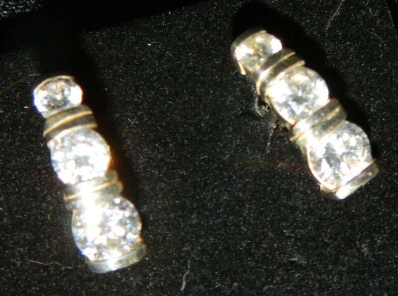 075#JQ--Earrings Post Drop Crystal Design Glass Stone Studs