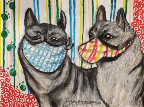 NORWEGIAN ELKHOUND in Quarantine 11x14 dog art giclee print poster KSams