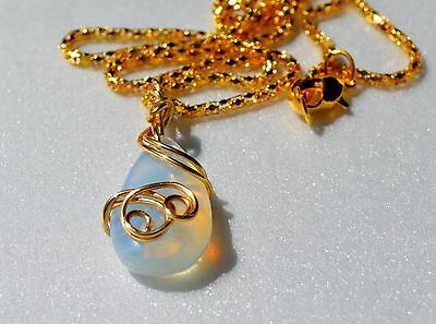 Gold Wrapped Pendant - Opalite Artistic Gold Wire Wrapped Pendant with Silver Plated Chain