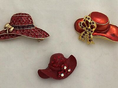 (Red Hat Society Jewelry Items 3 Brooches Pins Red Purple Gold Tone New)