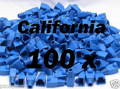 Lot 100 Blue RJ45 Connector Modular End Cap Boot Head CAT5 Plug CAT6 CAT5E Cable