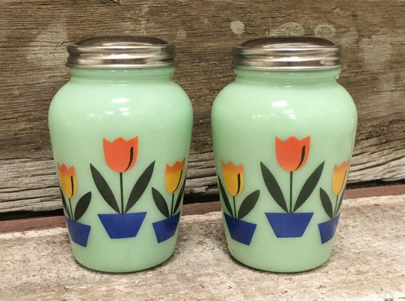 Set of Jadeite Colorful Tulips Round Green Milk Glass Salt & Pepper Shakers