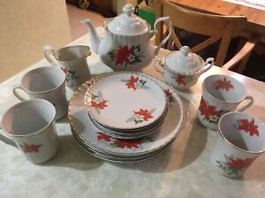 Vintage set of  Crown Imperial Christmas dishes