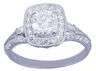 GIA H-VS2 14k White Gold Round Cut Diamond Engagement Ring Deco Prong 1.95ctw 6