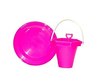 1 each Pink Frisbee and 1 Sand Bucket and Toy Shovel Made in America Lead Free (Sand Bucket And Shovel)