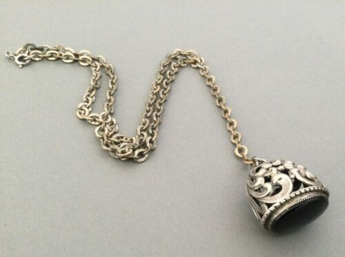 Vintage Necklace Victorian Revival Filigree Watch Fob Pendant Vintage Jewelry
