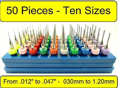 50 Piece Carbide Drill Set - Ten Sizes .012 - .047 - 18 Shanks Cnc Aaa