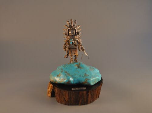 C. SUES AMERICAN INDIAN HOPI KACHINA STATUE TURQUOISE 999 SOLID SILVER FIGURINE