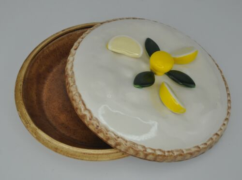 Sweetbriar Farm Ceramic Covered Pie Dish Carrier Lemon Wedge on Top - Orcas WA