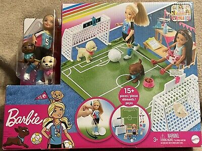 Barbie Dreamhouse Adventures Chelsea Doll And Pups w Soccer 15 Pcs Play Set New!