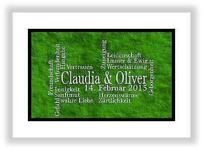 Geschenkidee für den Partner Mann + Frau Deko Kunstdruck Bild Dekoration Grün (Valentinstag Dekoration Ideen)