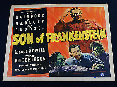 SON OF FRANKENSTEIN 1939 * KARLOFF * LUGOSI * HALF SHEET * UNIVERSAL HORROR!!