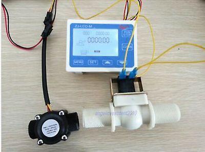 New 34 Water Flow Control Lcd Meter Flow Sensor Solenoid Valve