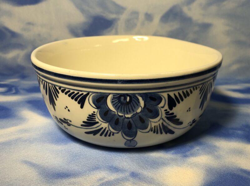 "NEW Vintage 7"" Delft Blue Hand Painted Floral Earthenware Serving Bowl Dish #505"