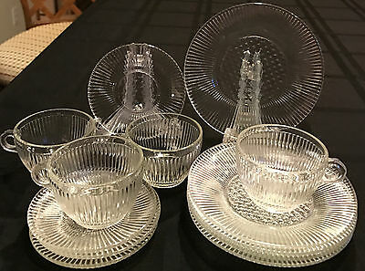 CHILDREN'S CLEAR HOMESPUN JEANETTE DEPRESSION GLASS