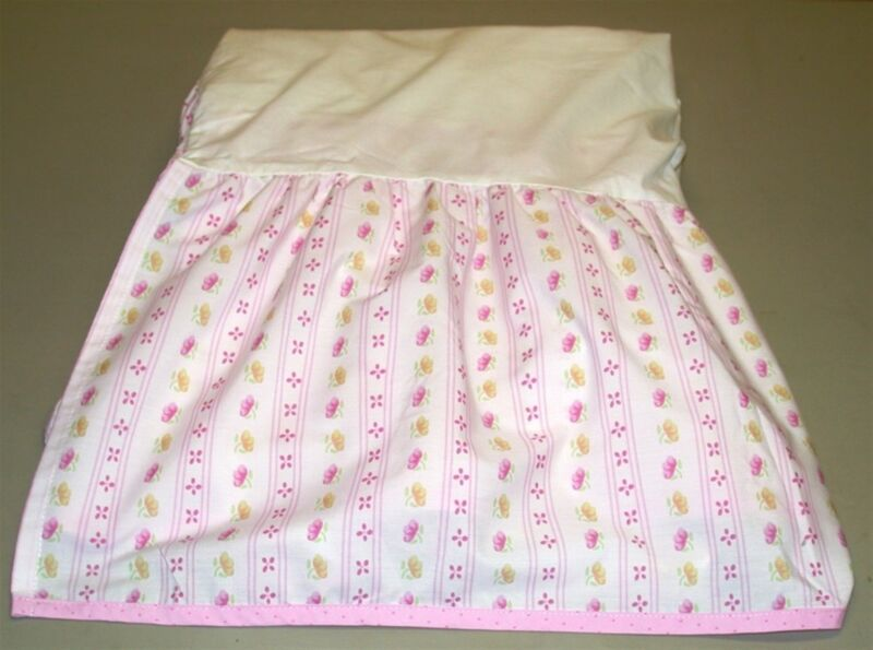 """Expectation Floral Crib Skirt ~ Drop 12"""" ~ Pink White Yellow Green"""