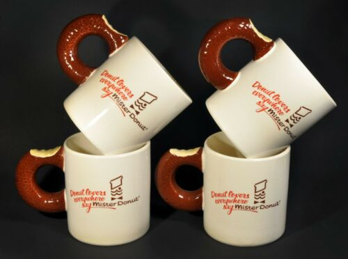 Set of 4 Vintage Mister Donut Lovers Everywhere Coffee Mug Cup Doughnut Handle