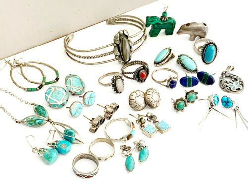 Old Sterling Silver Ring LOT Group Collection Turquoise Earrings Cuff Navajo