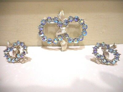 Vintage,Coro,Blue AB Crystal Rhinestone Silver Tone Metal Brooch & Earring Set