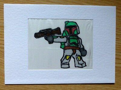 Hand Painted Silk Star Wars card Boba Fett Greetings Birthday (Boba Fett Birthday)