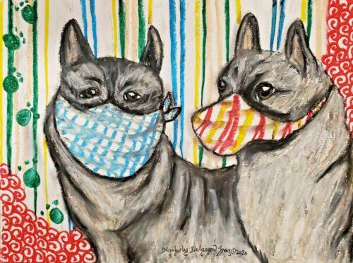 NORWEGIAN ELKHOUND in Quarantine 4x6 dog art Card PRINT Postcard Size
