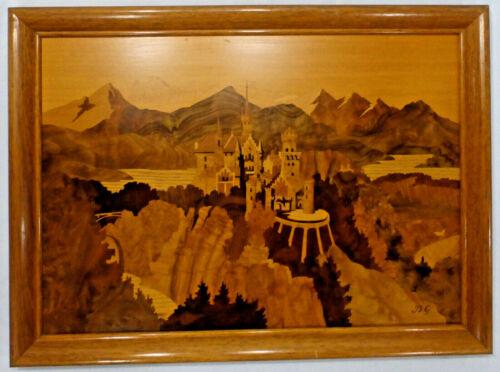 """BUCHSCHMID & GRETAUX Marquetry Wood Inlay """"NEUSCHWANSTEIN CASTLE"""", 20"""" W x 15"""" H"""