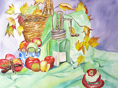 """'Butter Churn and Nutmeg Grater"""", kitchen, food, old fashioned, apples, wicker"""