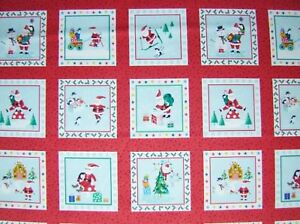 Christmas JOLLY SANTA LABELS fabric Makower Size 110 cm x 30 cm (33 pictures)