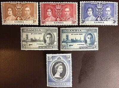 Gambia 1937 Coronation MH & 1946 Victory & 1953 Coronation MNH