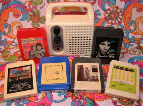 SEARS MONO 8 TRACK PORTABLE PLAYER W/6 TAPES SERVICED Watch Video!