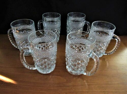"""6 Vintage Anchor Hocking Wexford Clear Glass Beer Mugs/Steins 14oz. 5"""" Tall"""