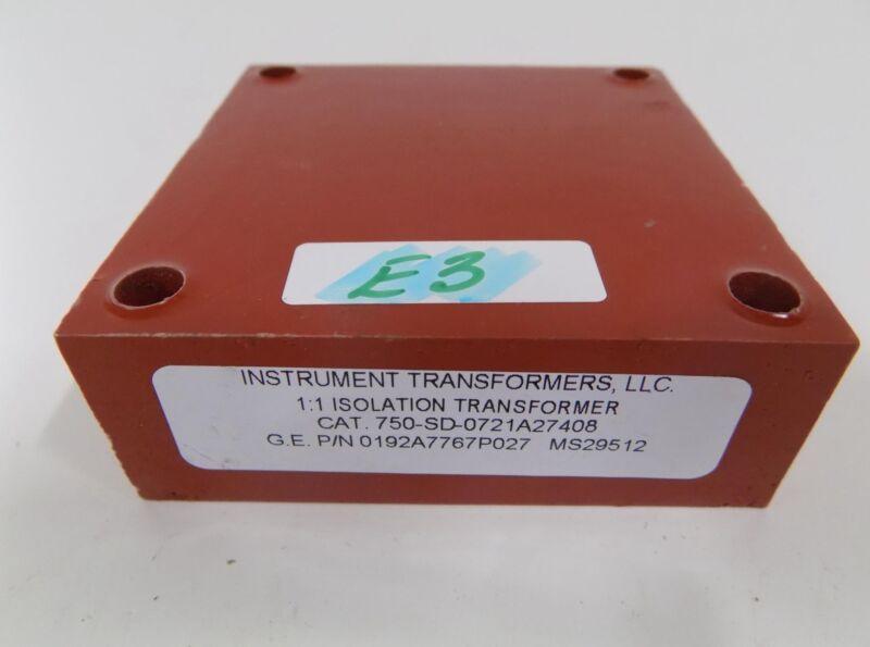 INSTRUMENT TRANSFORMERS 1:1 ISOLATION TRANSFORMER 750-SD-0721A27408