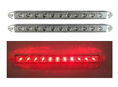 "2 NEW 16"" CLEAR/RED LED SLIM LOW PROFILE SURFACE MOUNT STOP TURN TAIL LIGHTS"