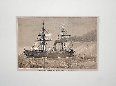 "Holzstich ""The Collision in Dover Bay..."", original"