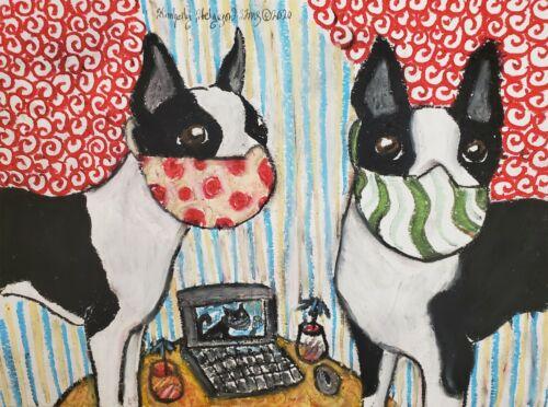 Boston Terrier Quarantine Pop Art Print 5 x 7 Dog Collectible Artist KSams Masks