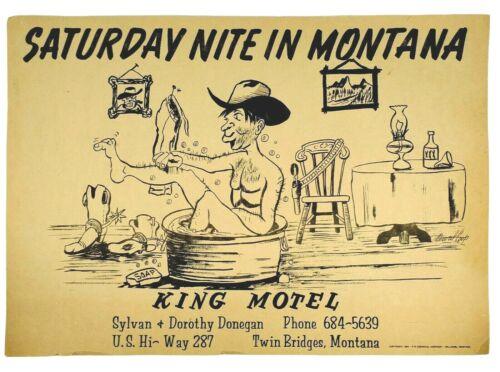 1960 King Motel Poster Saturday Nite In Montana Cowboy In Bathtub Twin Bridges