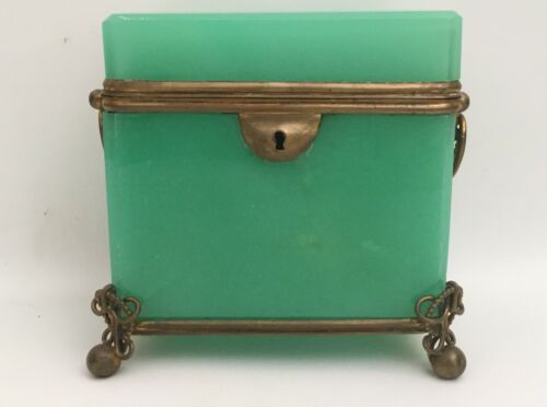 1880 French  Green Opaline Double Handle Casket Hinged Box ~ AS IS! ~ Stunning