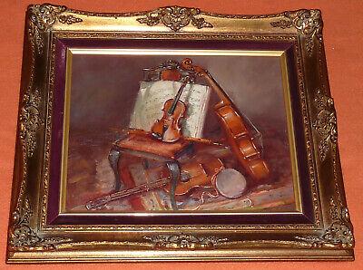 Musikinstrumente Stillleben Gemälde Violine Geigen Bogen Gitarre Violoncello ()