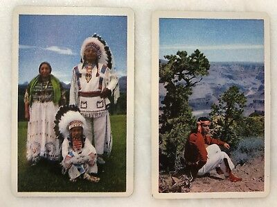 2 NATIVE AMERICAN Indian SWAP CARDS Blank Back Not Playing Vintage Original