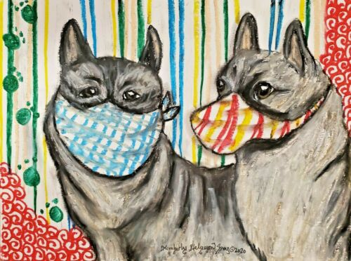 Norwegian Elkhound Art ORIGINAL PAINTING | Gift, Home Decor 9x12 Dogs KSams
