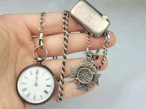 Antique Sterling Silver Pocket Watch Chain, Vesta, Dover College Fob & Watch