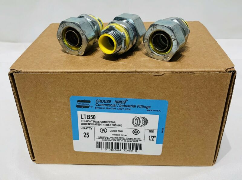 "NEW BOX CROUSE-HINDS 1/2"" LIQUIDTIGHT CONNECTORS STRAIGHT INSULATED LTB50 Q-25!"